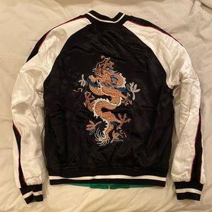 🐲 Topshop 'Leo' Dragon Embroidered Bomber Jacket